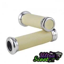 Handlebar Grips Ncy Leather White/Ivory